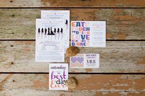 Whimsical Purple and Orange Invitation Suite