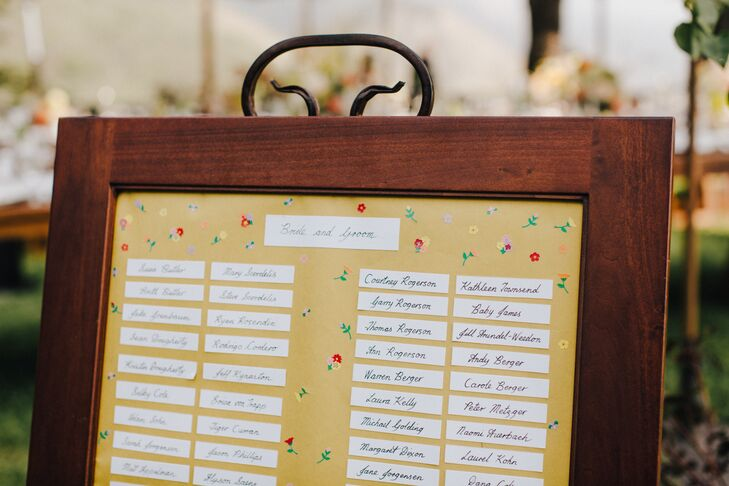 DIY Yellow Seating Chart in Wood Frame