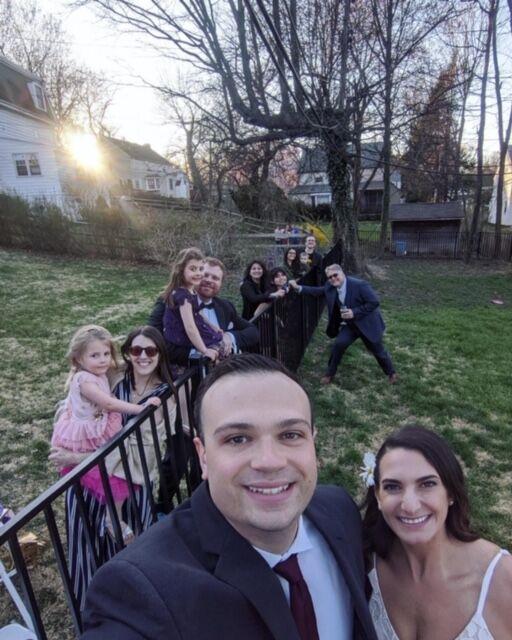 couple marries backyard wedding covid-19