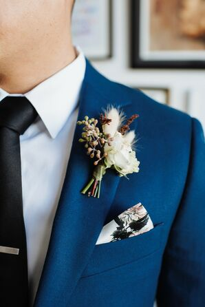 Boutonniere and Pocket Square for Wedding at The Container Yard in Los Angeles, California