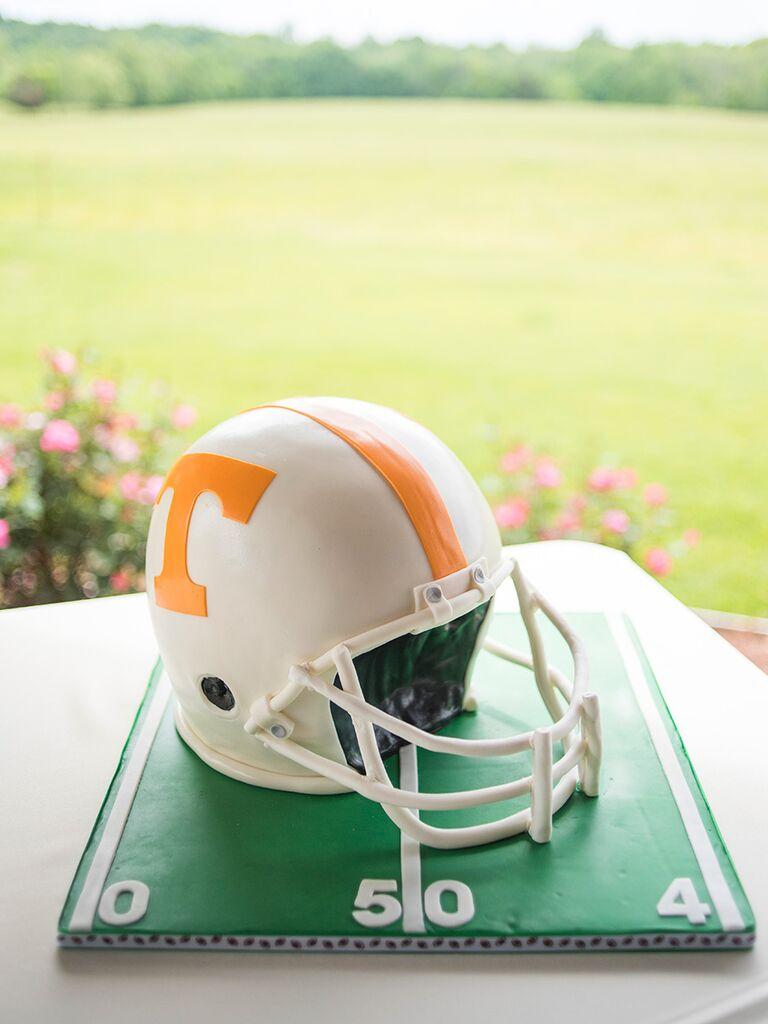 Tennessee Volunteers football helmet groom's cake