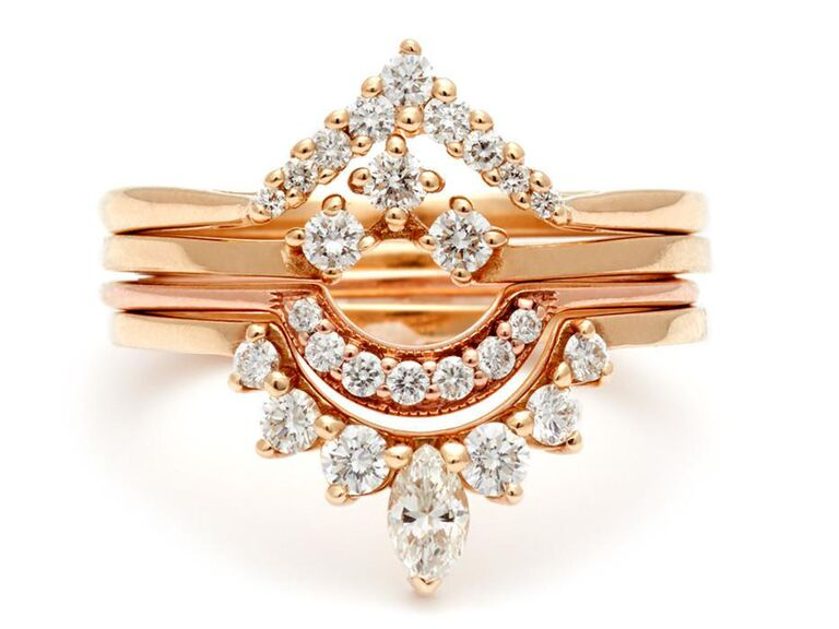 rose gold and diamond nesting bands