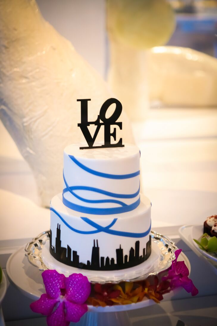 """The Chicago skyline was not just in the backdrop of Maria and Jeff's wedding: Their cutting cake had the skyline silhouette too. In addition to cupcakes, they also had a late-night snack: a gelato cart, with six delightful flavors. """"Having ice cream at our wedding was my only must-have,"""" Maria says."""