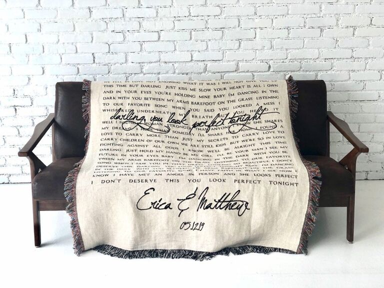 Woven cotton throw customized with song lyrics and couple's names and wedding date