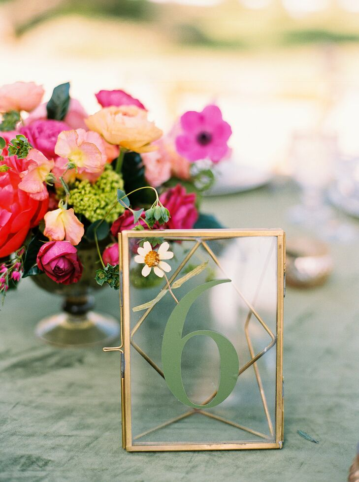 Colorful Centerpieces and Glass Table Numbers