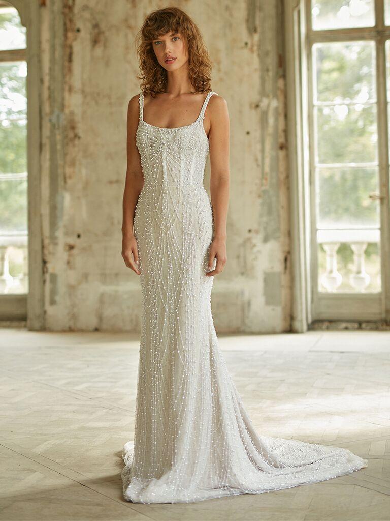 Dana Harel sheath dress with spaghetti straps and pearl beading