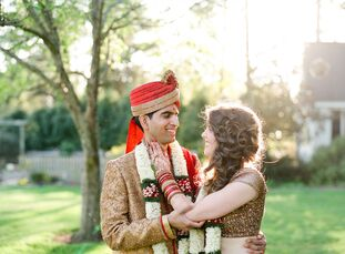 For their Jewish-Indian fusion wedding at a rural North Carolina barn, Lauren Ring (28 and a physician) and Mohan Mallipeddi (32 and also a physician)