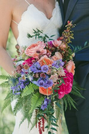 Rustic Bouquet with Ferns, Dahlias, Carnations and Wildflowers