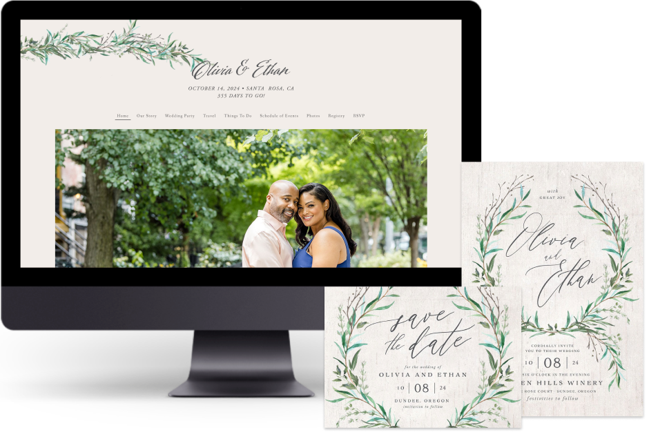Green Natural Laurel wedding website design with matching paper suite