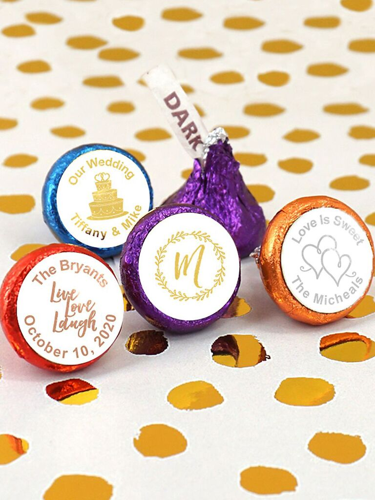 Personalized chocolate kisses cheap wedding favors
