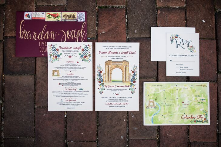 Custom Invitations with Location Illustrations and Map