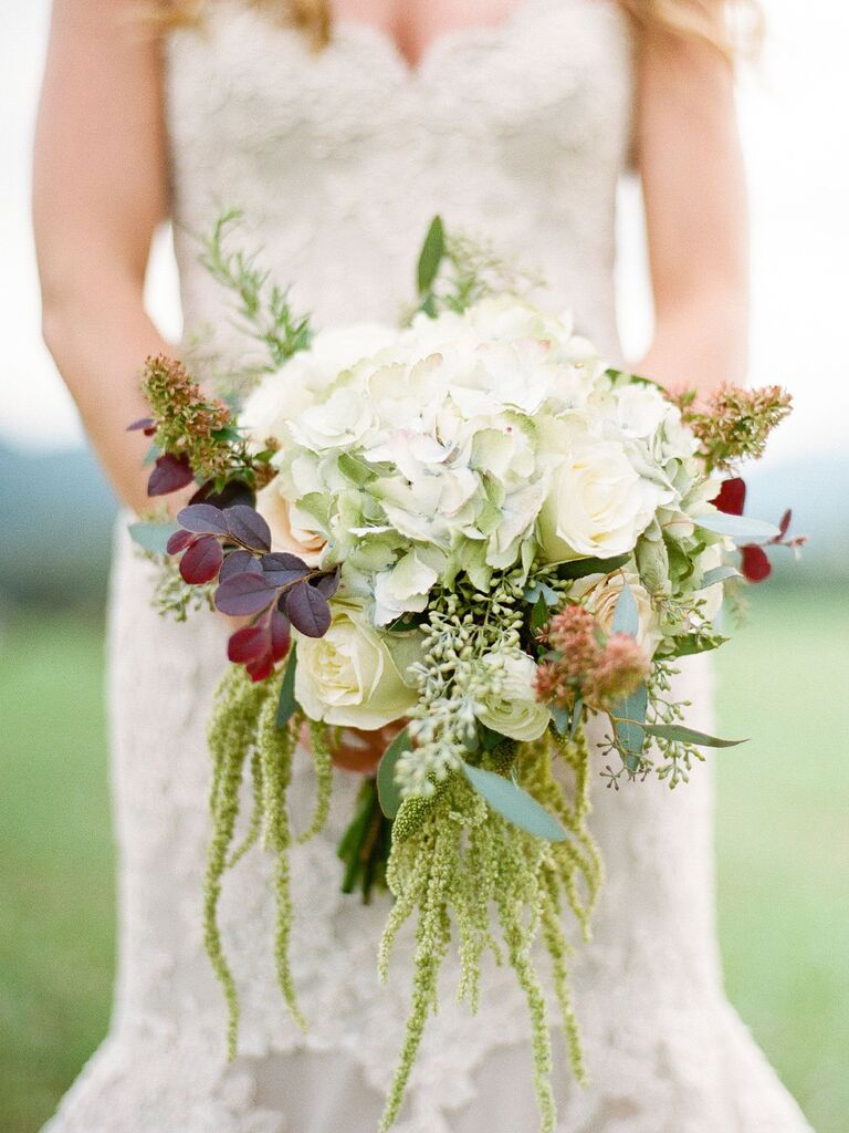 15 fall wedding bouquet ideas and which flowers theyre made with antique hydrangeas and traditional roses mightylinksfo
