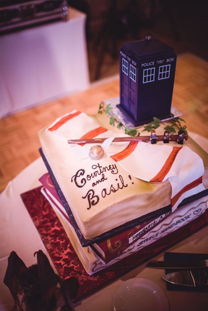 The wedding cake was modeled to look like Hogwarts textbooks and a Dr. Who phone booth.