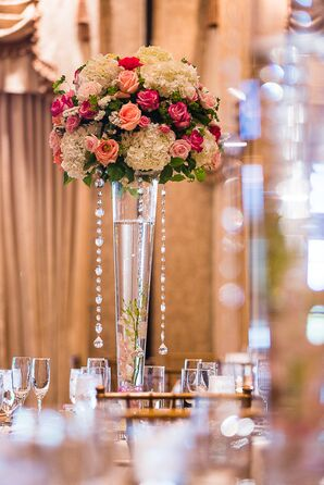 Tall Centerpiece with Roses and Crystals