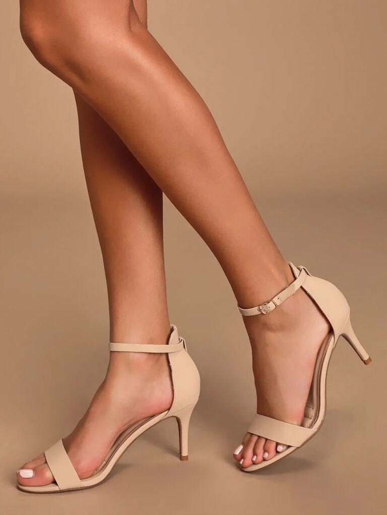 Lulus Published Author nude nubuck ankle strap heels