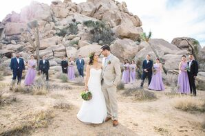 Rustic Couple with Wedding Party in California Desert
