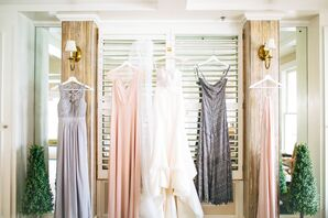 Mismatched Lavender Gray and Blush Bridesmaid Dresses