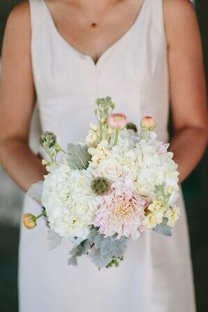 Blush and Champagne Dahlia and Hydrangea Bridesmaid Bouquet