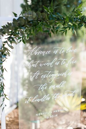 Acrylic Sign with Calligraphy for Wedding at The Ivory Oak in Wimberley, Texas
