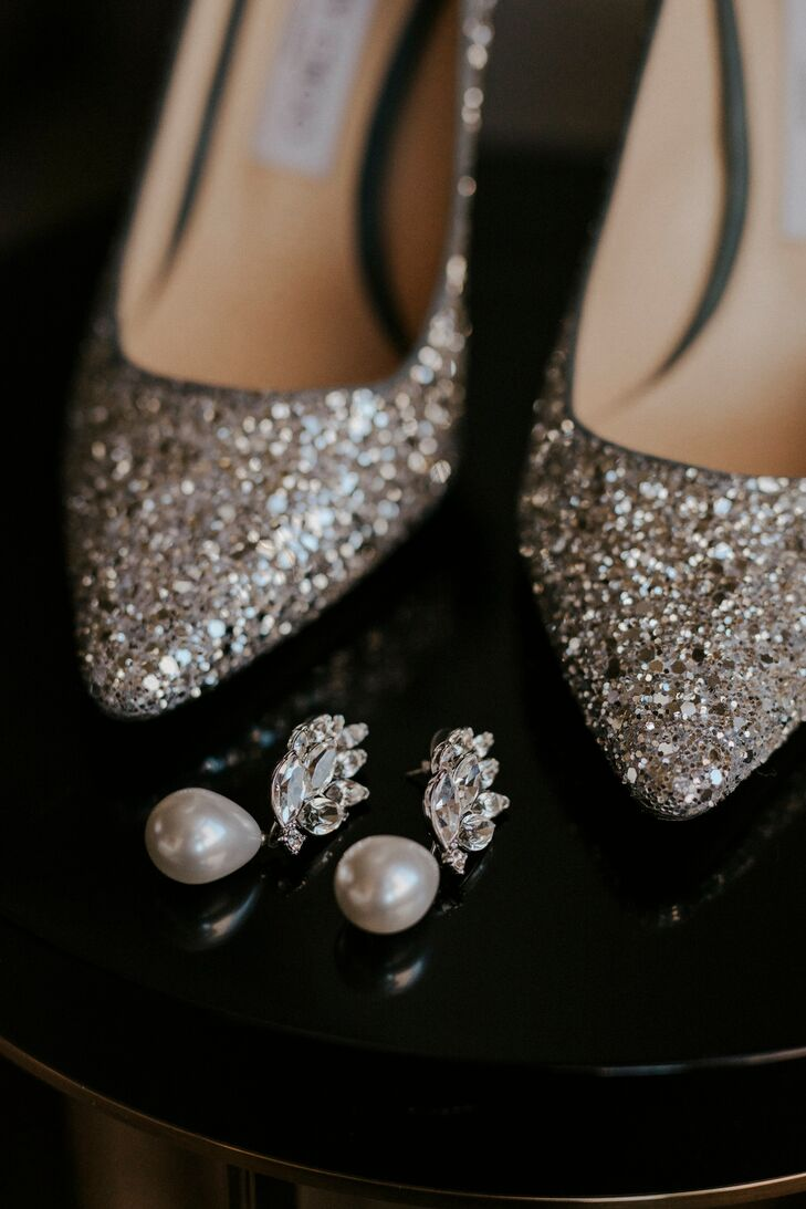 Glamorous Diamond and Pearl Earrings with Glittery Heels