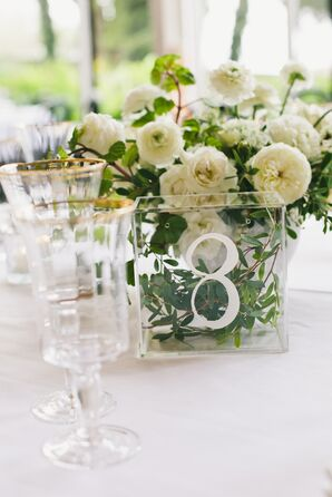 Elegant Glass Table Numbers and White Flowers