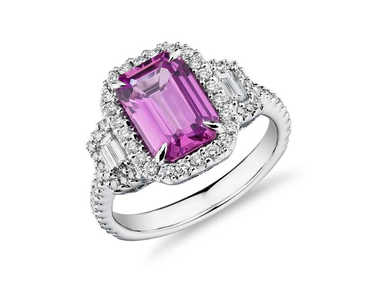 Blue Nile emerald-cut pink sapphire ring with diamond trapezoid side stones in 18K white gold