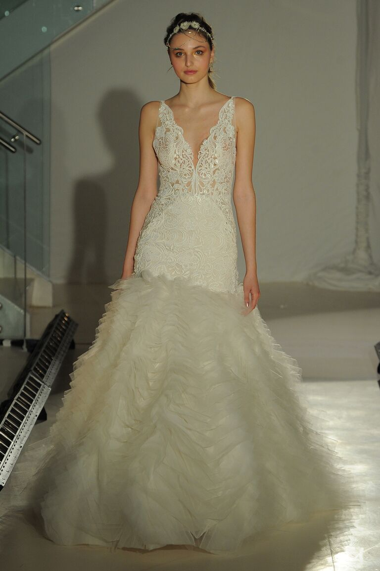 Plunging Neckline With Tulle Mermaid Skirt Wedding Dress For Lazaro Spring 2017