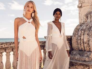 PatBO lycra bodysuit and mesh dresses