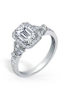 Kirk Kara Unique Emerald Cut Engagement Ring
