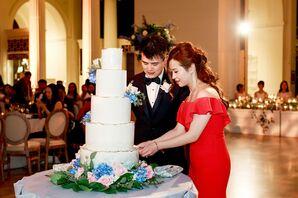 Luxurious Cake Cutting, Black Tuxedo and Modern Red Dress