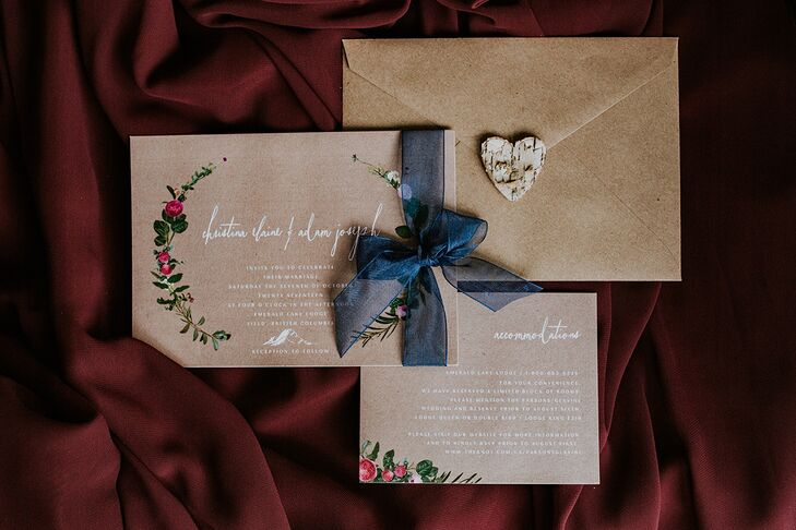 Rustic Brown Wedding Invitation with White Calligraphy