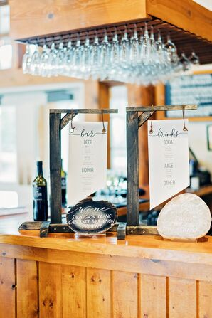 Rustic Bar with Paper and Agate Menus