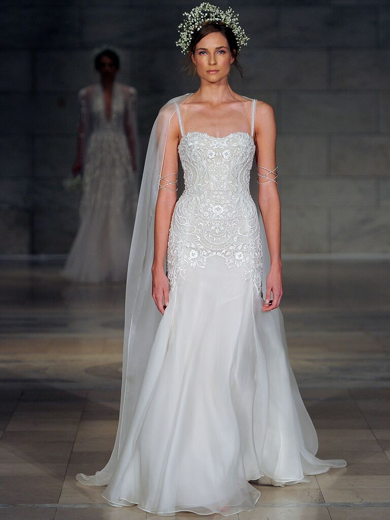 Reem Acra Fall 2018 embroidered organza wedding dress with thin straps