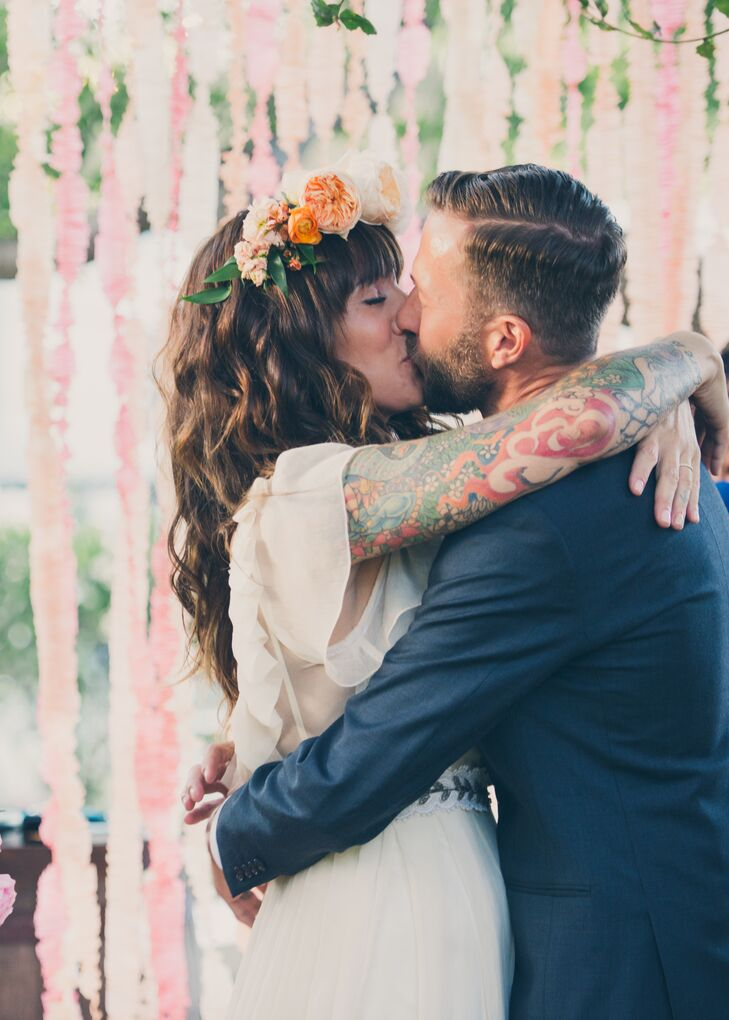 First Kiss at Backyard Wedding in Newhall, California