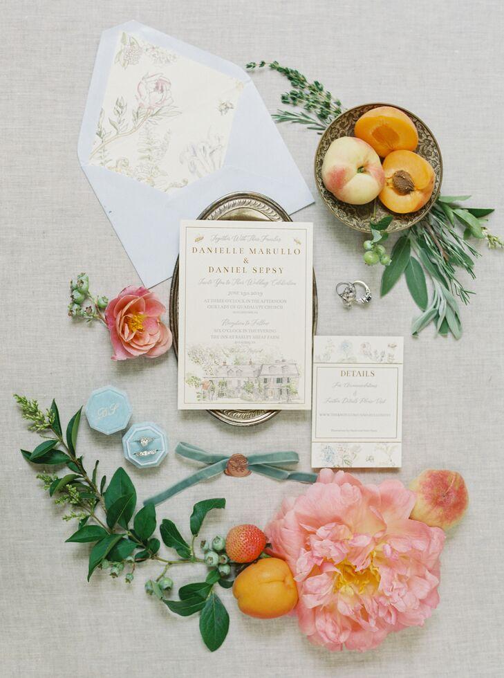 Romantic Wedding Invitations for Peach-and-Blue Pennsylvania Wedding