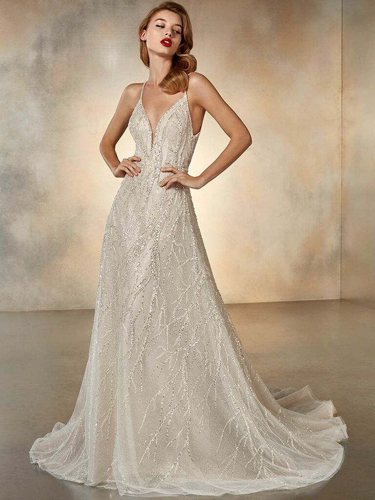 Atelier Provonias wedding dress champagne beaded ball gown