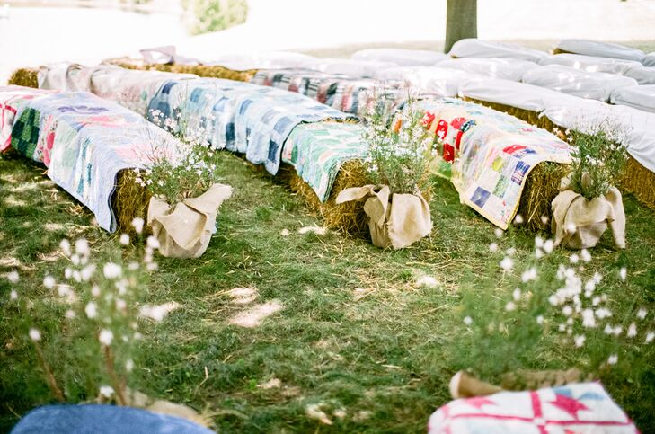 Hay Bale Ceremony Seating Covered with Quilts