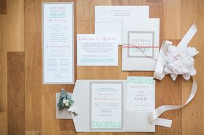 Custom Mint, Gray and White Stationery