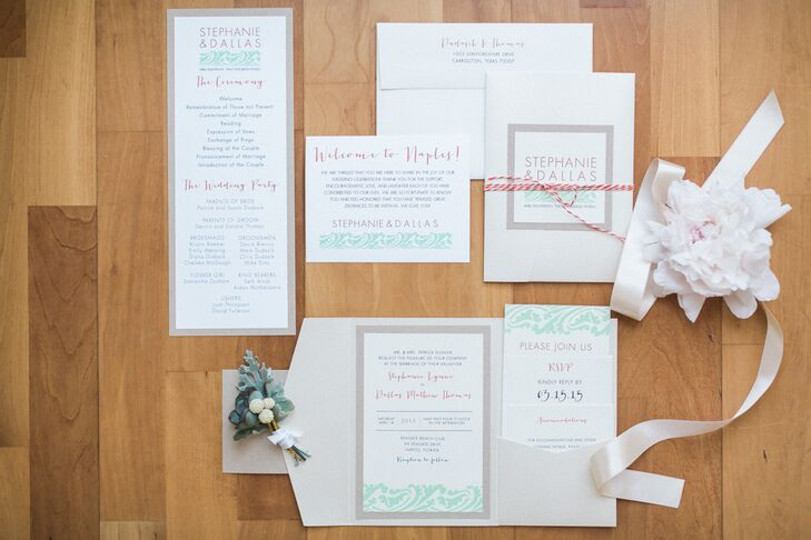 Tasha Rae Designs took care of all the custom stationery. From the invitation suite to the ceremony programs, every piece had a clean design, reminiscent of their contemporary, coastal inspiration. A modern wave pattern was used on almost every sheet, which contrasted the solid gray borders. We love how they added some other hues to the mix with a bold font in their wedding colors.