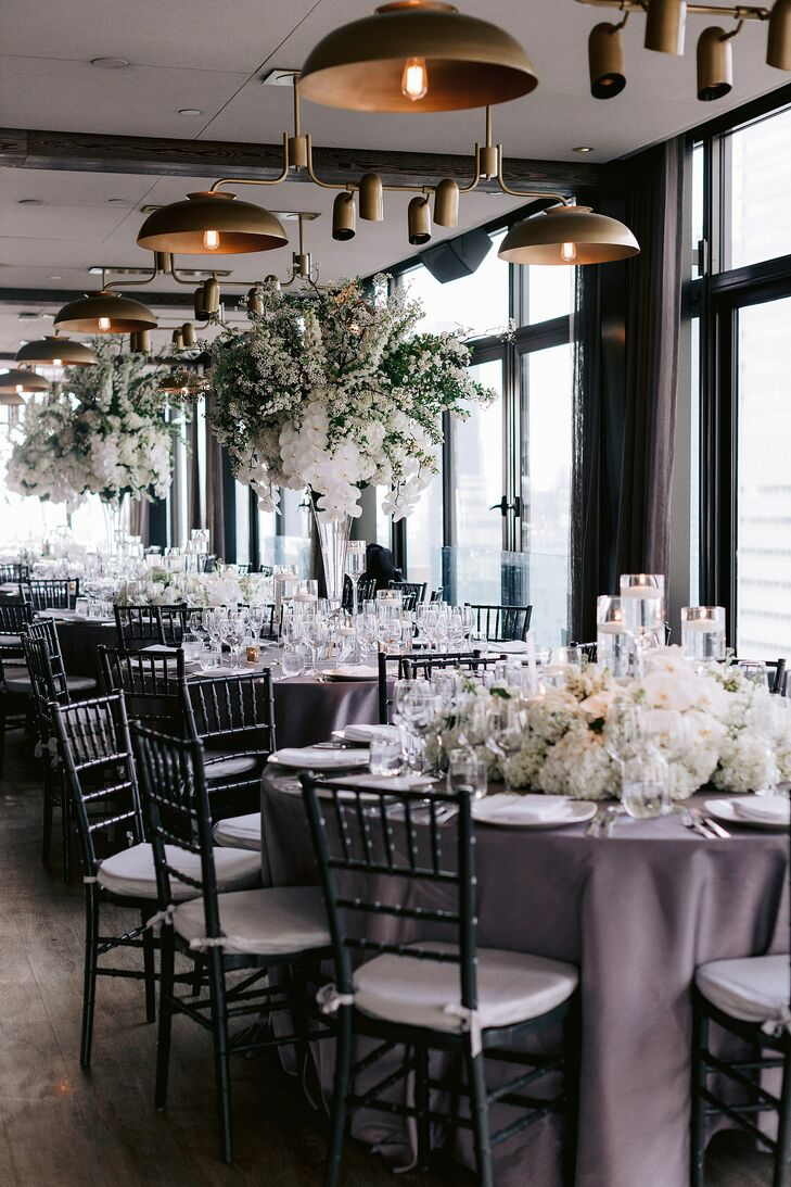 Modern and Elegant Reception with Tall White Centerpieces