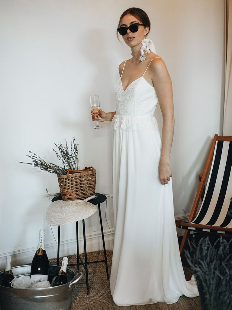 Laure de Sagazan wedding dress peplum gown