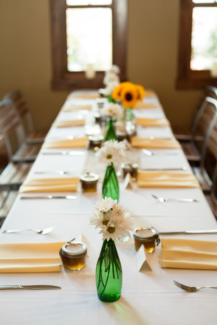 Simple White, Yellow and Green Reception Tables