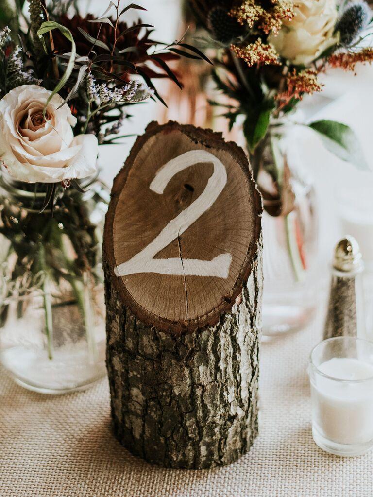 Wood stump wedding table number