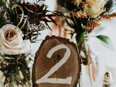 Wood stump wedding table number
