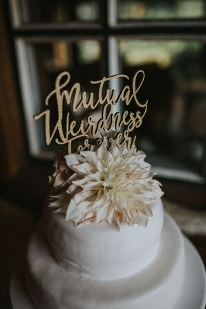 Personalized 'Mutual Weirdness' Script Cake Topper