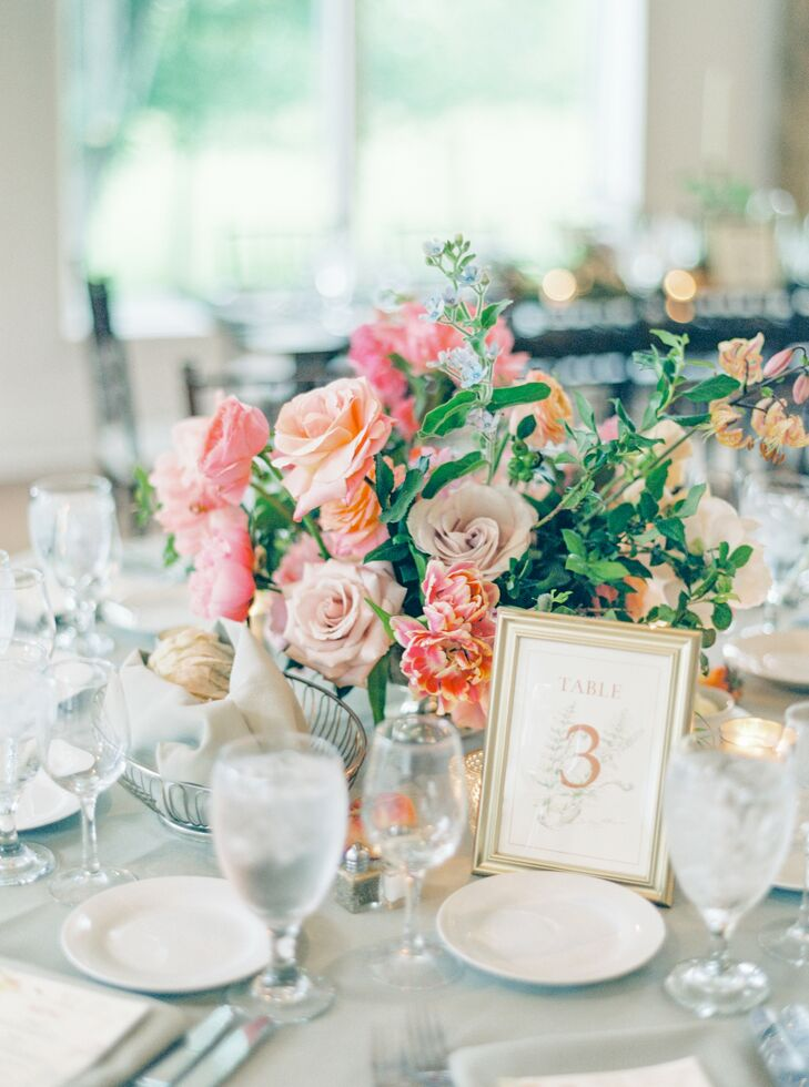 Vibrant Pink Centerpieces at Pennsylvania Wedding