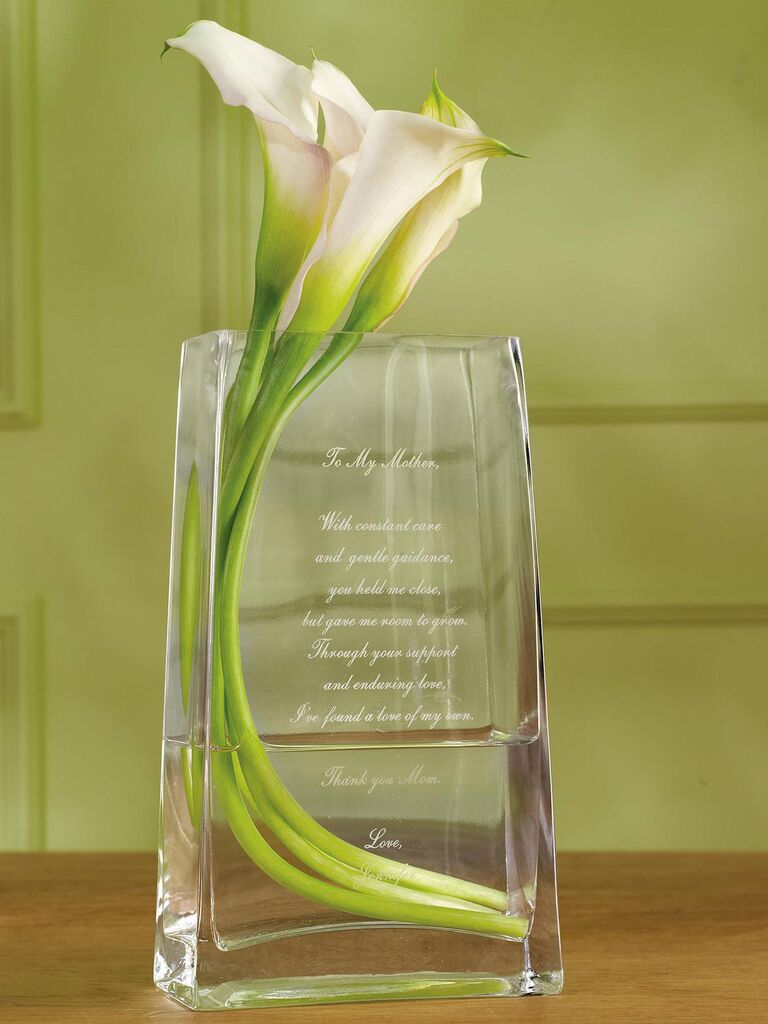 Mother of the groom glass vase
