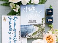 beach-themed watercolor save the date