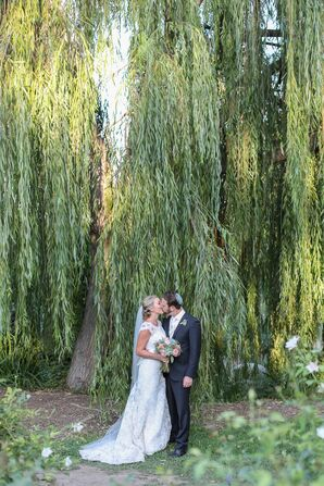 Couple Kiss Under Willow Tree