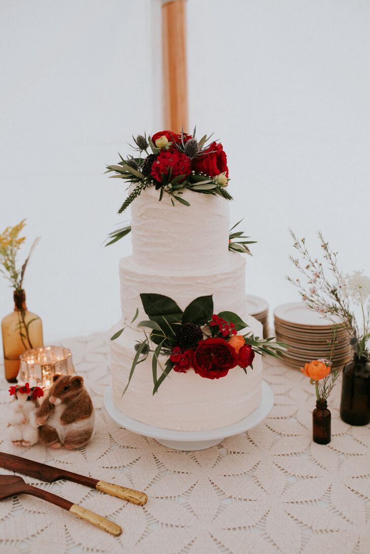 Textured Buttercream Cake with Red Garden Roses